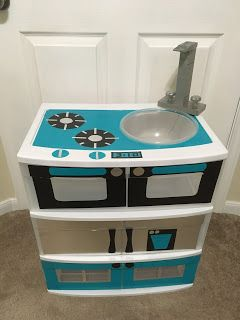 DIY play-kitchen with duck tape and plastic drawers. The ...