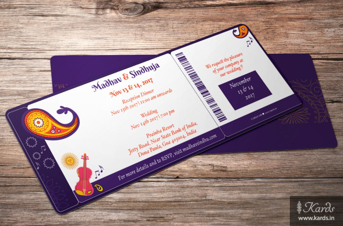 A Classy Musical Boarding Pass Wedding Invitation Classy