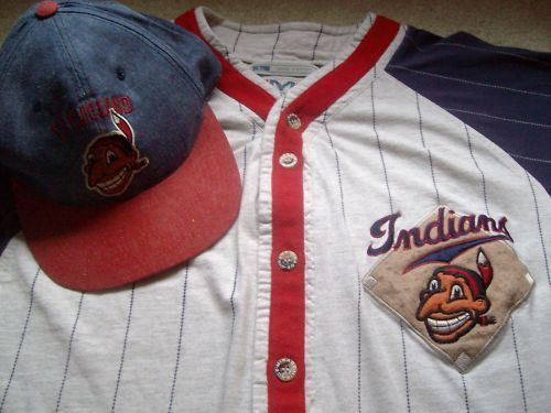 uk availability 169fb 7e821 VTG CLEVELAND INDIANS 1946 CHIEF WAHOO MIRAGE JERSEY + HAT ...