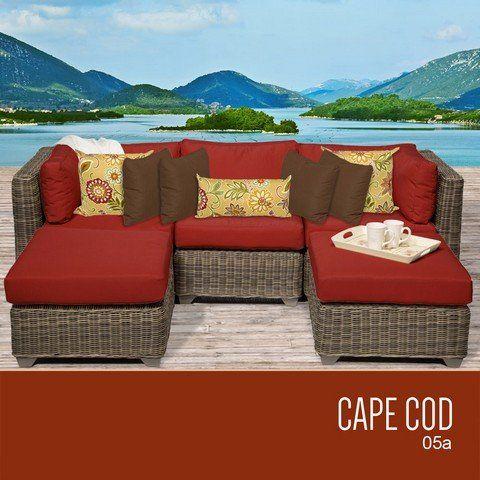 Tkc Cape Cod 5 Piece Outdoor Wicker Patio Furniture Set Check