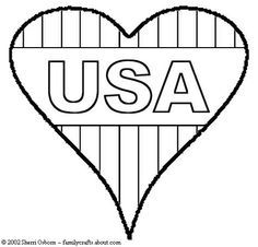 American Flag Heart Coloring Pages Holiday 4th of july bcoloring