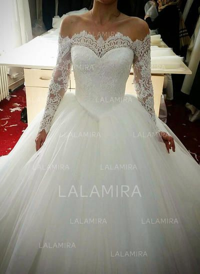 f139f749374d8 Ball-Gown Off-The-Shoulder Cathedral Train Tulle Lace Wedding Dress With  Beading