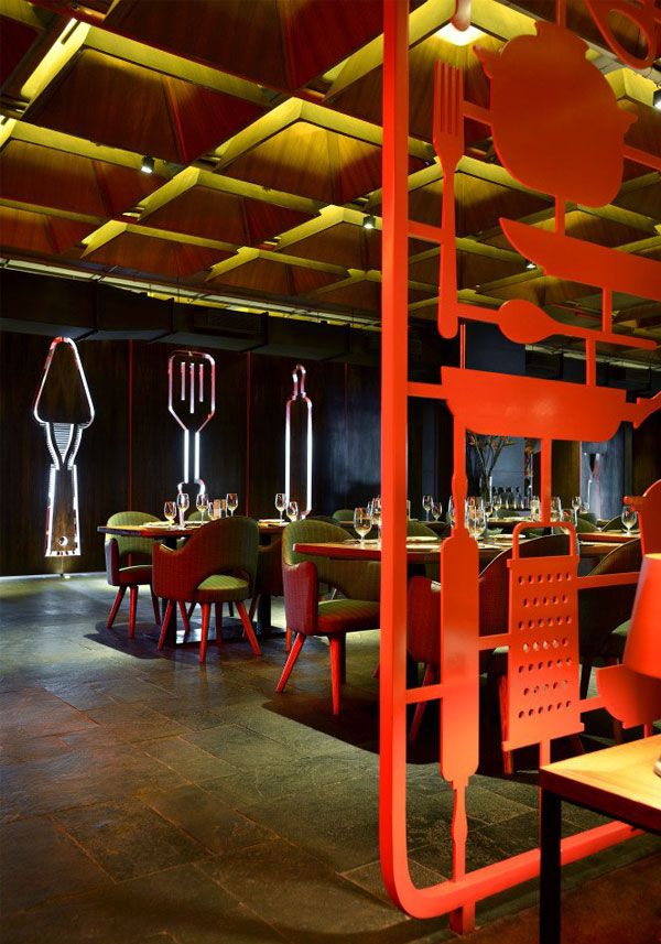 Tower Kitchen And Amazing Red Decor Cafe Design Restaurant