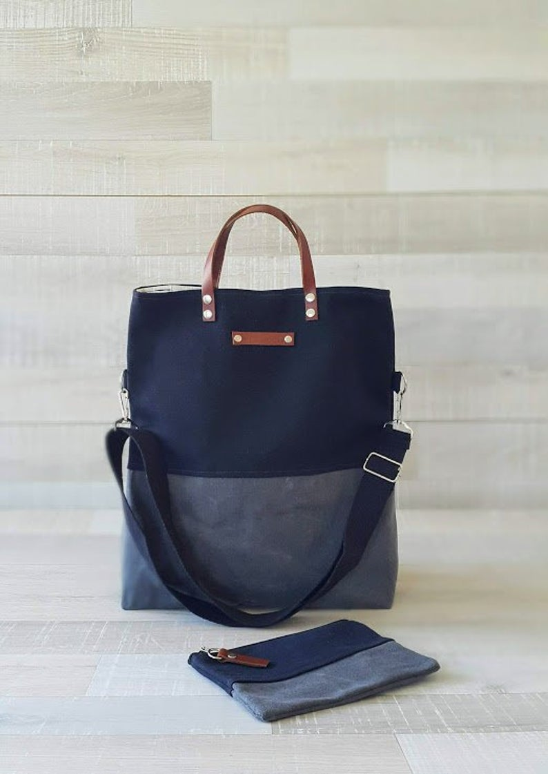 Photo of UNISEX WAXED TOTE BaG and WaLLeT Set, Black Gray Color Block Tote, A3 Laptop Bag, Mens Messenger Bag,, Waxed two tones Bag