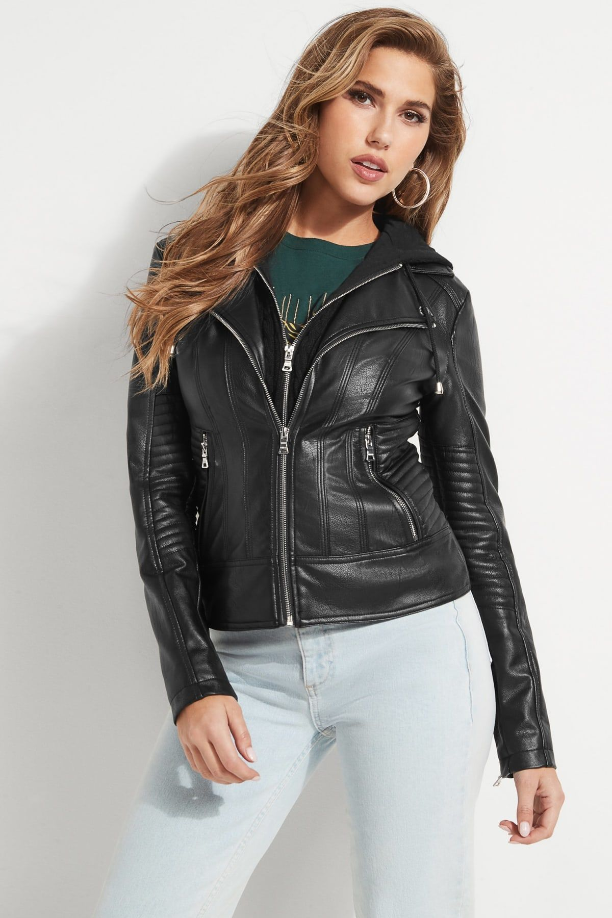Faux-Leather Convertible Hooded Moto Jacket in 2020 ...