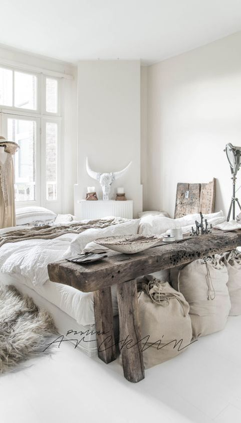 White Bedroom Table: White Boho Bedroom Decoration