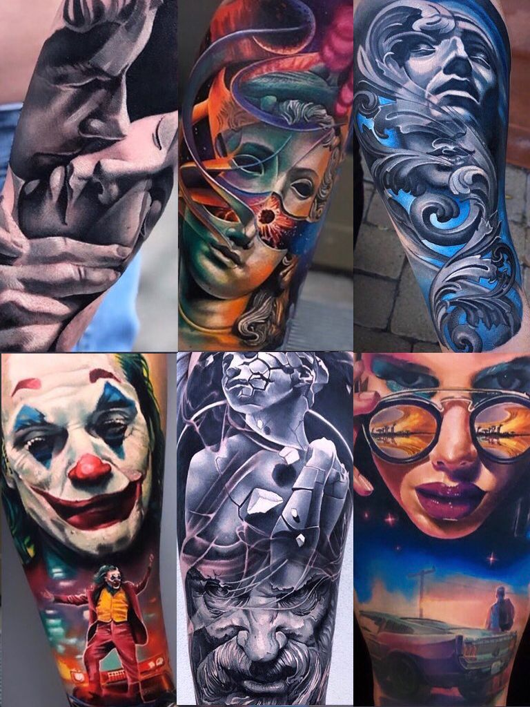 Combinations of different tattoos on different parts of the body