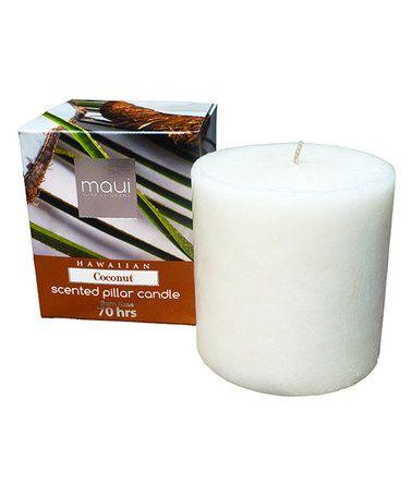 Coconut Scented Pillar Candle #zulily #zulilyfinds