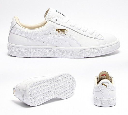 Puma Womens Basket Leather Trainers in White. Everybody's shoe collection  has room for this classic clean and simple silhouette.