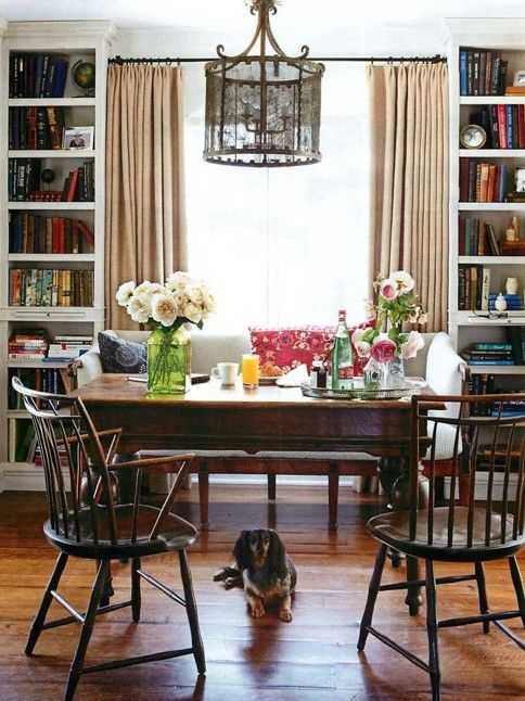 Sofa Rather Than A Banquet Perfectly Fit Between Two Bookshelves