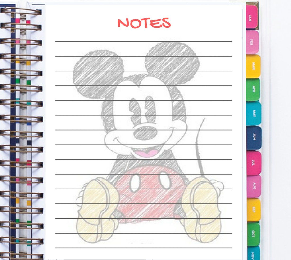 Printable Mickey Mouse planner Notes inserts,A5, to-do ...