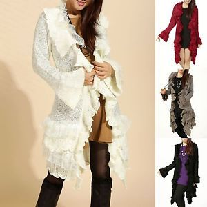 Retro Ruffles Lace Tiered Bottom Cardigan Buttons Long Sweater ...