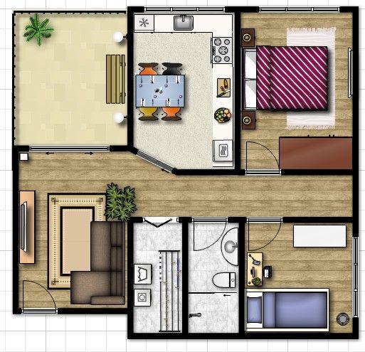 3 tipos de plantas de casas bem divididas plantas de for Plantas de casas tipo 3