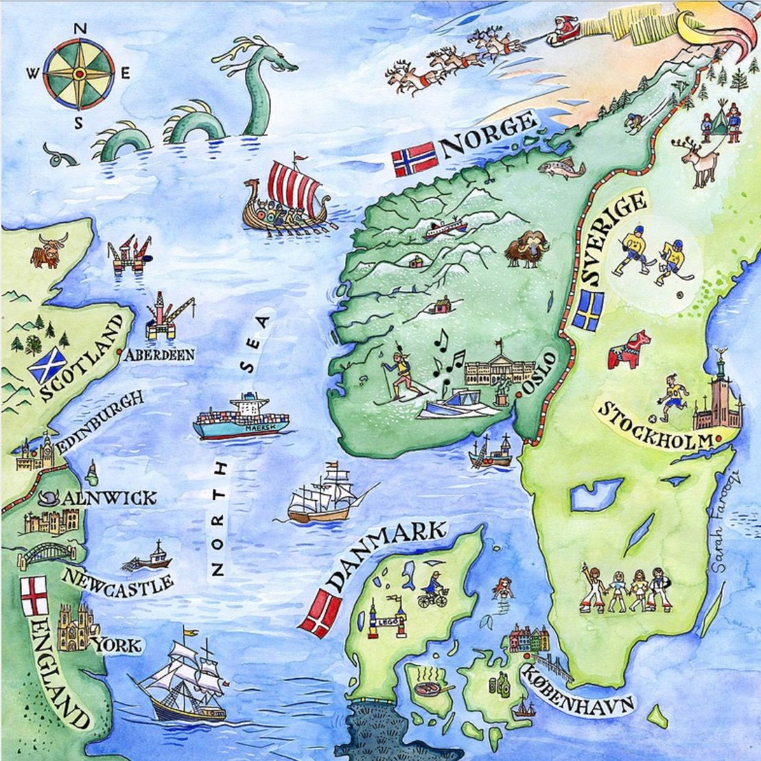 Pin by chris on norway pinterest sarah farooqi scandinavia illustrated map showing britain norway denmark and sweden gumiabroncs Gallery