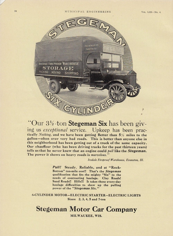1917 Stegeman Motor Car Ad Iredale Fireproofing Warehouse