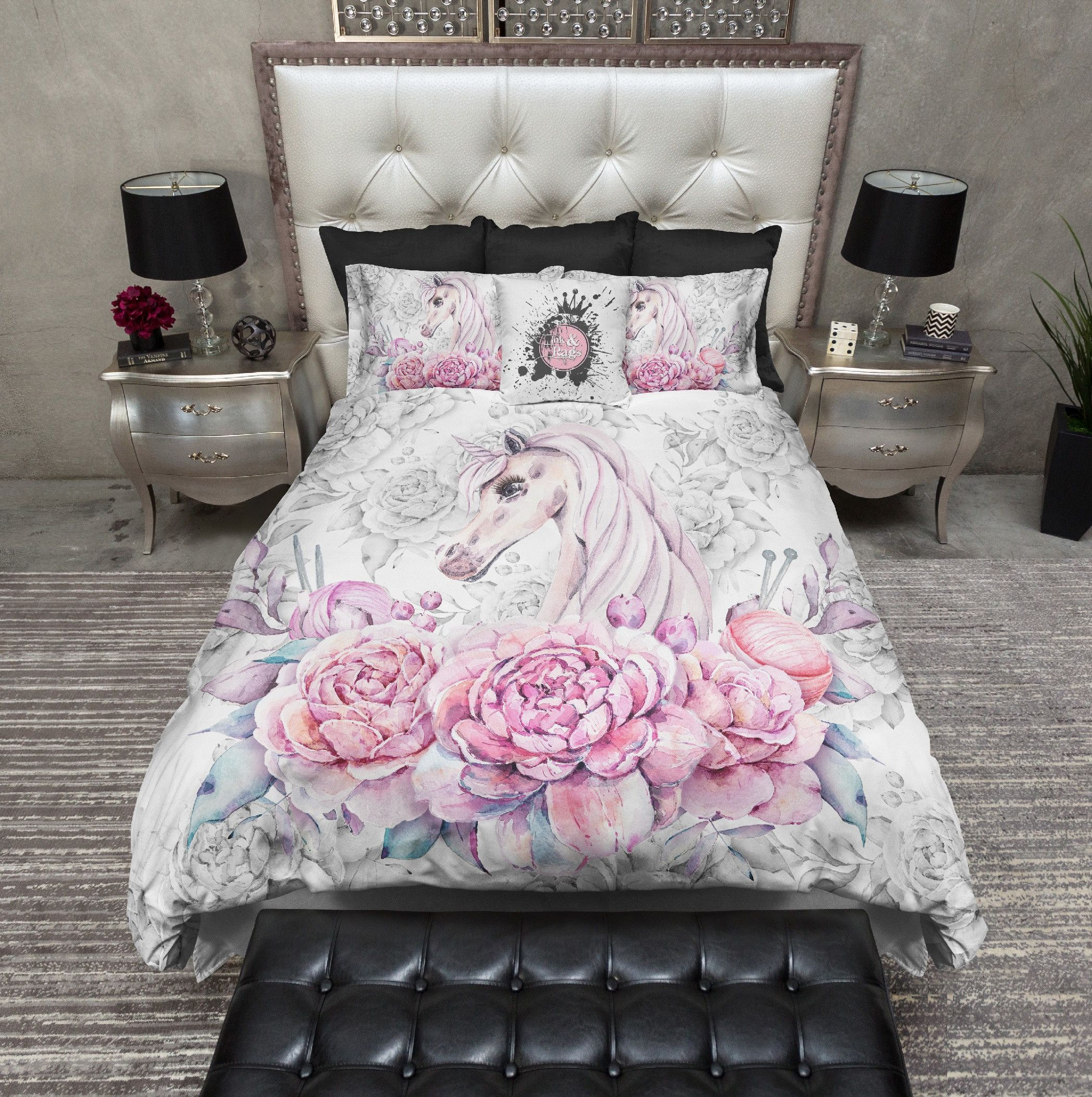 Sweetheart Unicorn Rose Bedding Unicorn room decor
