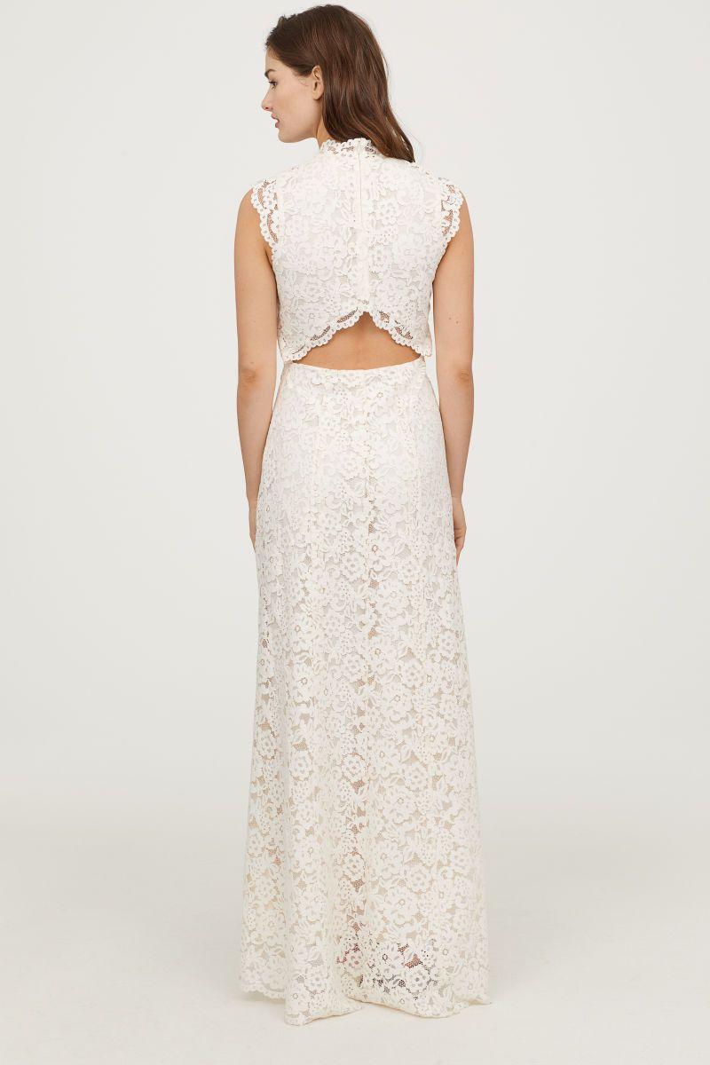 Long lace wedding dress  Long Lace Dress  Cream  WOMEN  HuM US weddingdress bridal