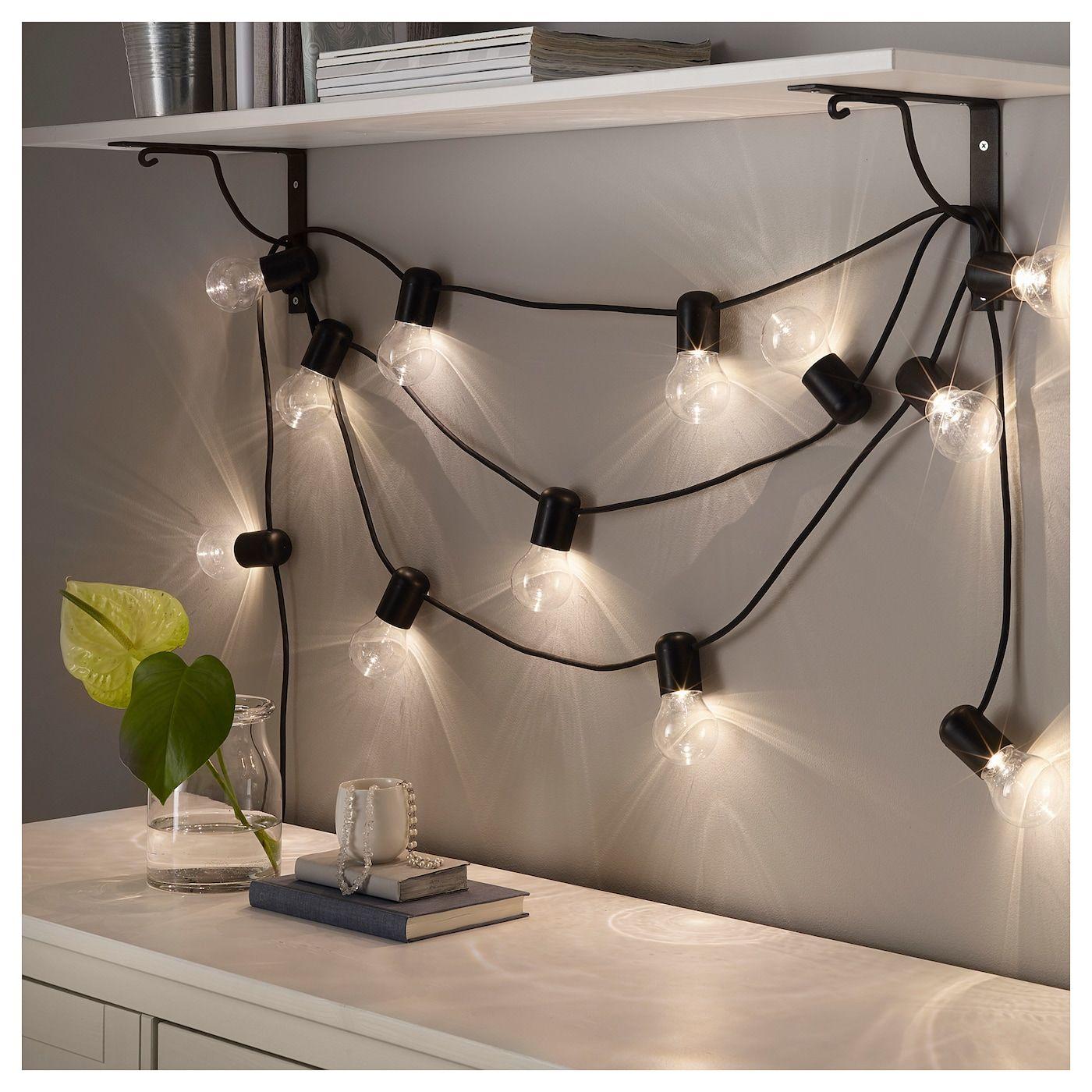 Svartra Led Lyslenke Med 12 Lys Svart Utendors Lights Dekorasjon Og Ikea