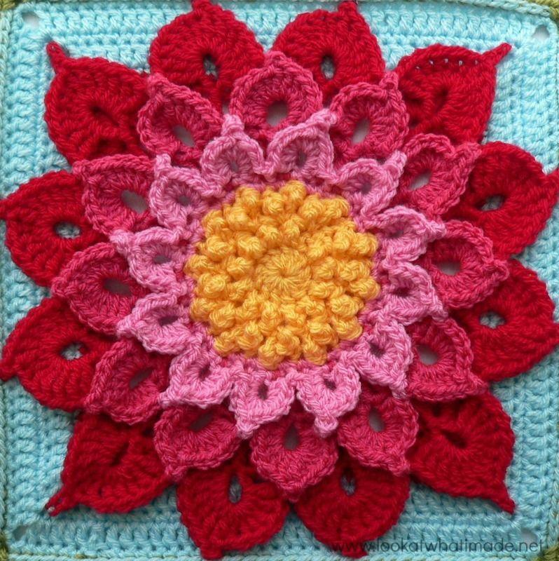 Crochet Crocodile Stitch Flower Square ...