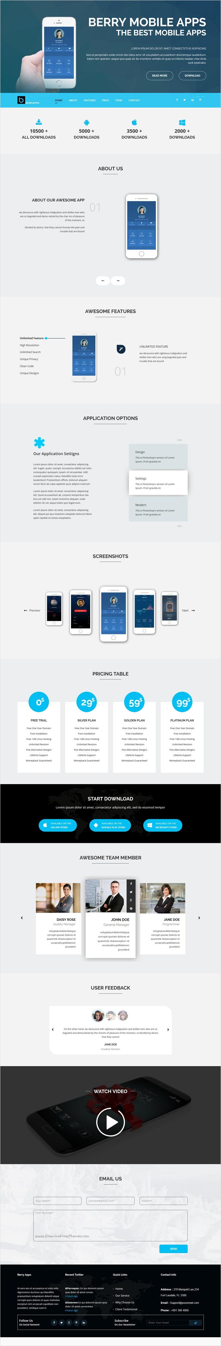 Berryapps Responsive Mobile App Html Template Mobile App