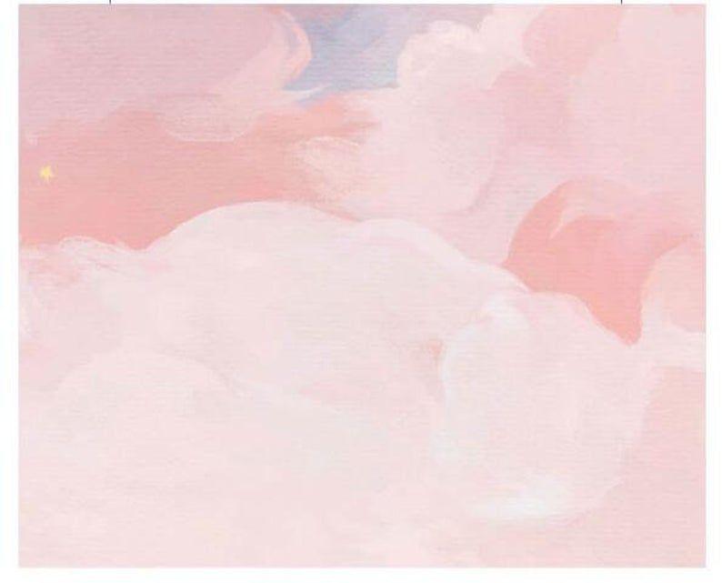 Cartoon Pink and Blue Sky Nursery Wallpaper, Creative Clouds Baby Girl's Room Nursery or Kid's Room Wall Murals Wall Decor