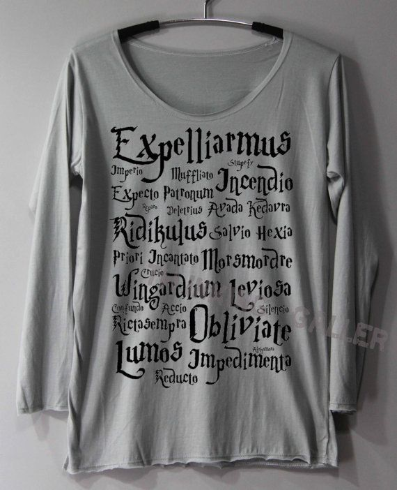 Harry Potter Spell Shirt Magic Spell Shirts by ThinkingGallery ... ff8ab44a5