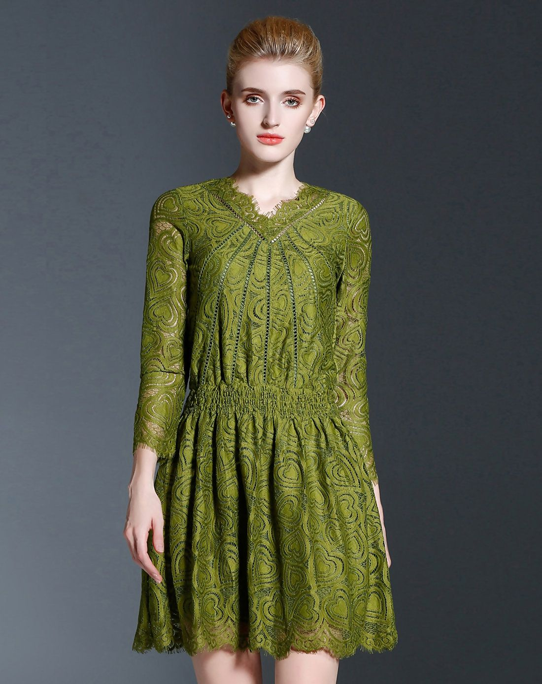 Adorewe oushang green sheer lace printed mini dress adorewe