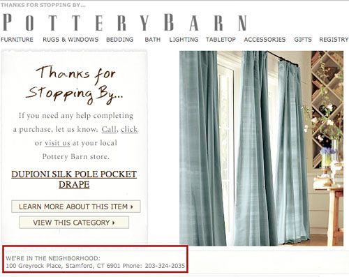 Pottery Barn Abandoned Cart Email
