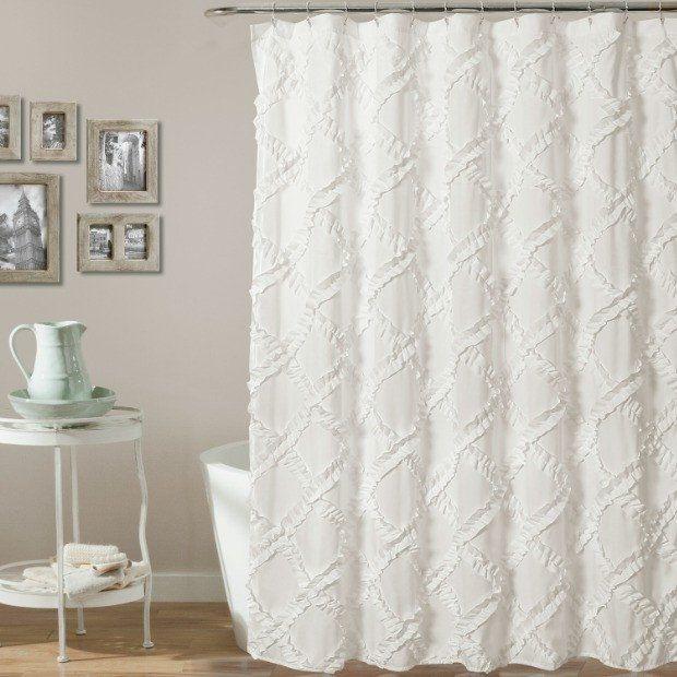 White Ruffle Diamond Shower Curtain | Antique farmhouse, Farm house ...