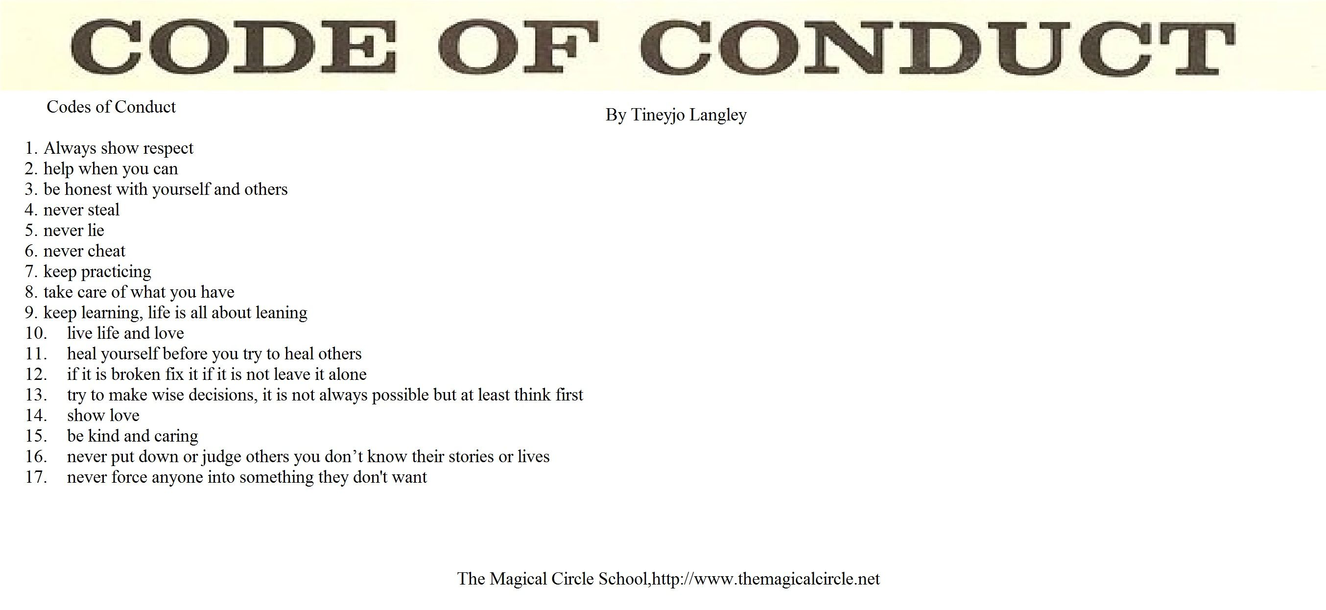 Code Of Conduct Book Of Shadows