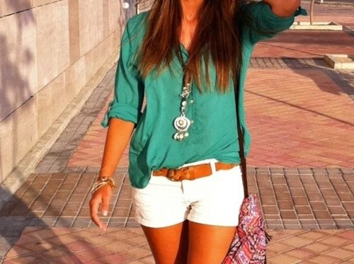 teal shirt, white shorts