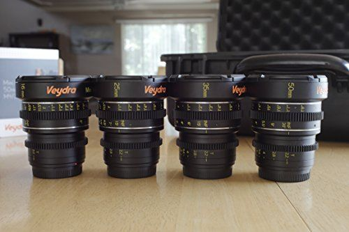 |++  Veydra V1-16253550LENSKITCASEI Mini Prime 4 Lens Kit with 6 Lens Case with Manual Focus, Black