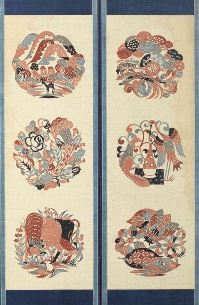 伊曽保物語屏風(部分) 4曲1隻 紬、型染 1932年