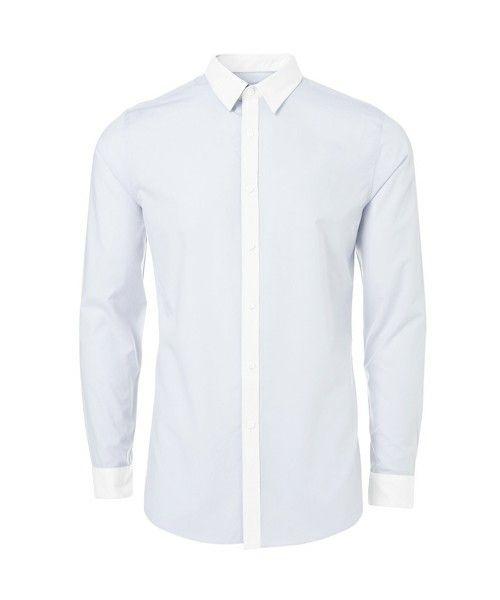 TOPMAN FINAL FEW(トップマン ファイナルフュー)のLIGHT BLUE LONG SLEEVE SMART SHIRT(シャツ・ブラウス)|ライトブルー I should have found this one in Shinjuku and bought one.   TOPMANのシャツは襟が小さ目で、上品で好きです♡襟のバリエーションも丸襟から尖ったものまでさまざまで、見てて楽しい!これ店舗で見たことないけど買いだったなあああ