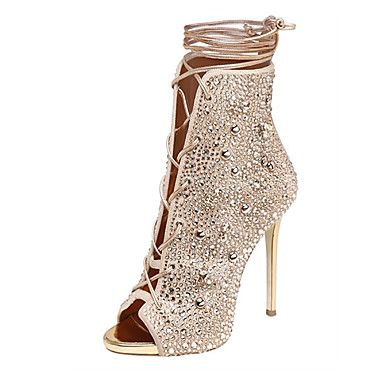 Women's Shoes Fleece Summer Gladiator Sandals Stiletto Heel Open Toe  Rhinestone Lace-up for Wedding Casual Dress Party & Evening Office &