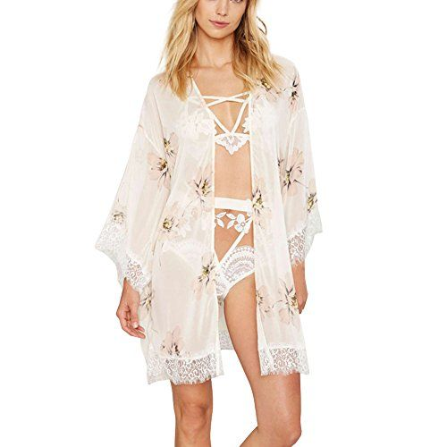761709570c Aglaiabikini Womens Beach Cover ups - Sexy Floral Chiffon Swimsuits Bikini  Cover-up Swimwear Lace