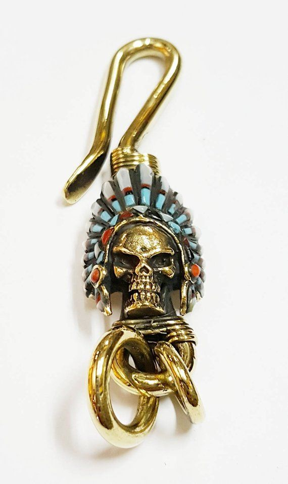 Solid Brass Native American Skull Headdress Keychain Indian Head Chief Key  Ring Fob Keyring Leather ab8e73fad