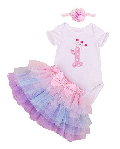 BabyPreg® Baby Girls 1st Birthday Tutu with Headband Set (XL(12-18) months), Pink Purple)