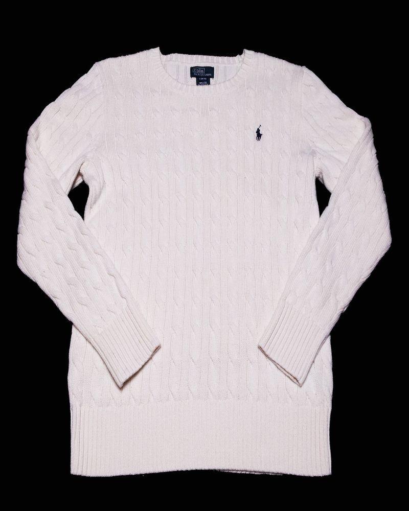 POLO Ralph Lauren Cable Knit Sweater 100% Cotton Size Large 14-16 (#
