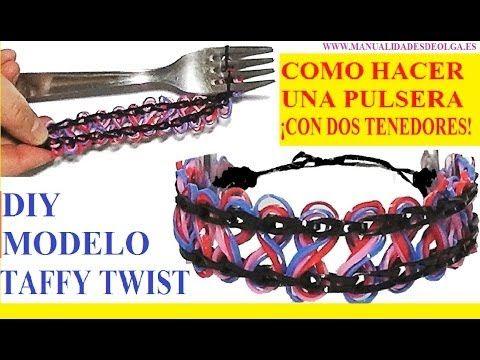b811be25faea COMO HACER PULSERAS DE GOMITAS TAFFY TWIST SIN TELAR ¡CON DOS ...
