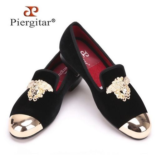 6d958e6a438aa Versace Design Gold Top and Metal Toe Velvet Loafers via Piergitar Shoes.  Click on the image to see more!