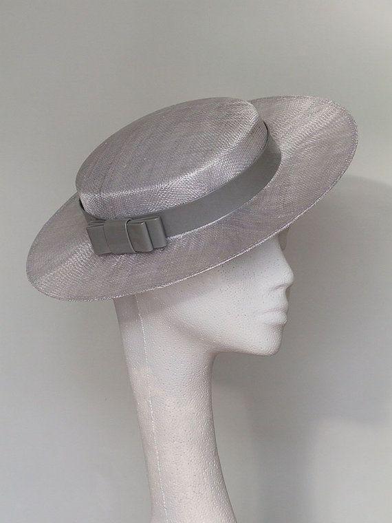 Silver Grey Boater Fascinator Headpiece Ascot Hat  6b56e78cb6b