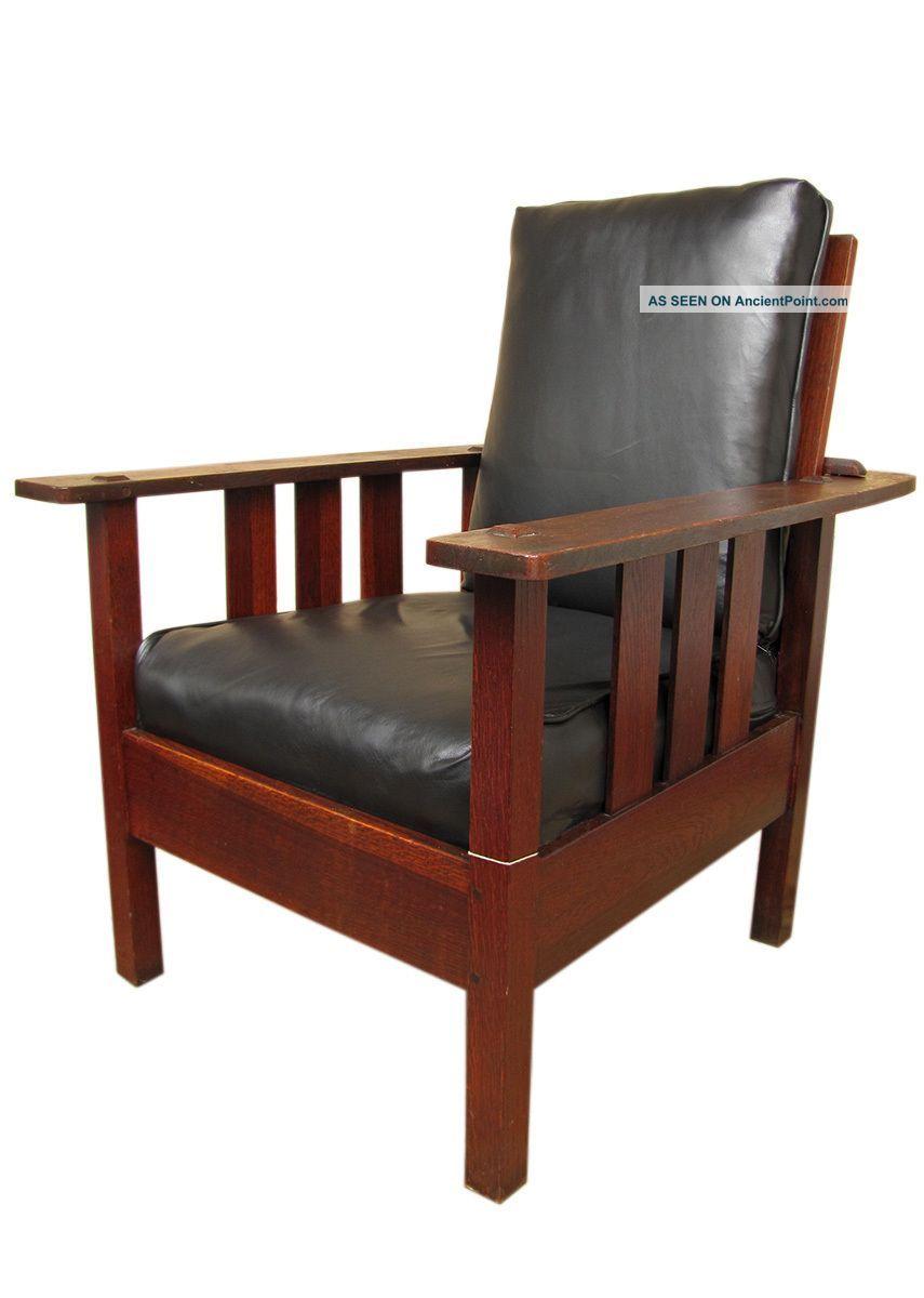 Antique stickley morris chair - Antique Limbert Slatted Morris Chair Mission Oak Stickley Era W935 1900 1950 Photo