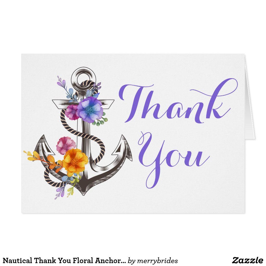 Nautical thank you floral anchor beach wedding zazzle