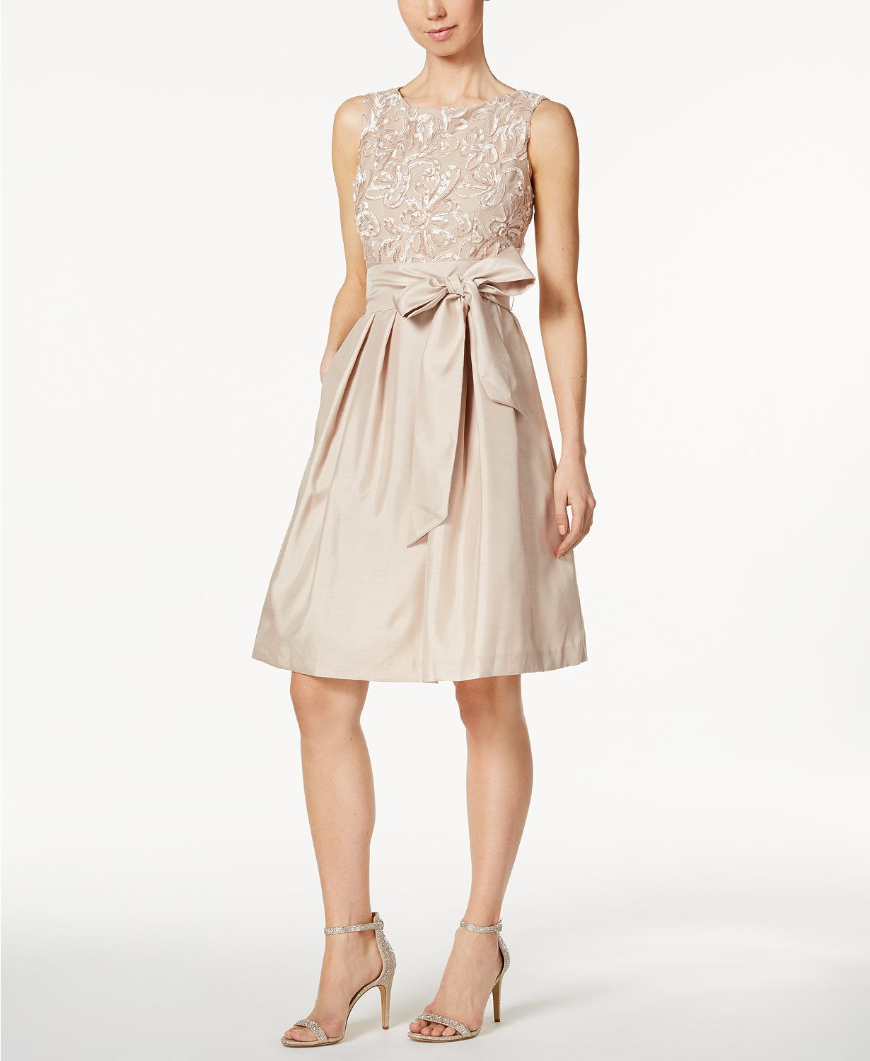 Wedding dresses at macy's  Jessica Howard Embroidered Sash Fit u Flare Dress  macys