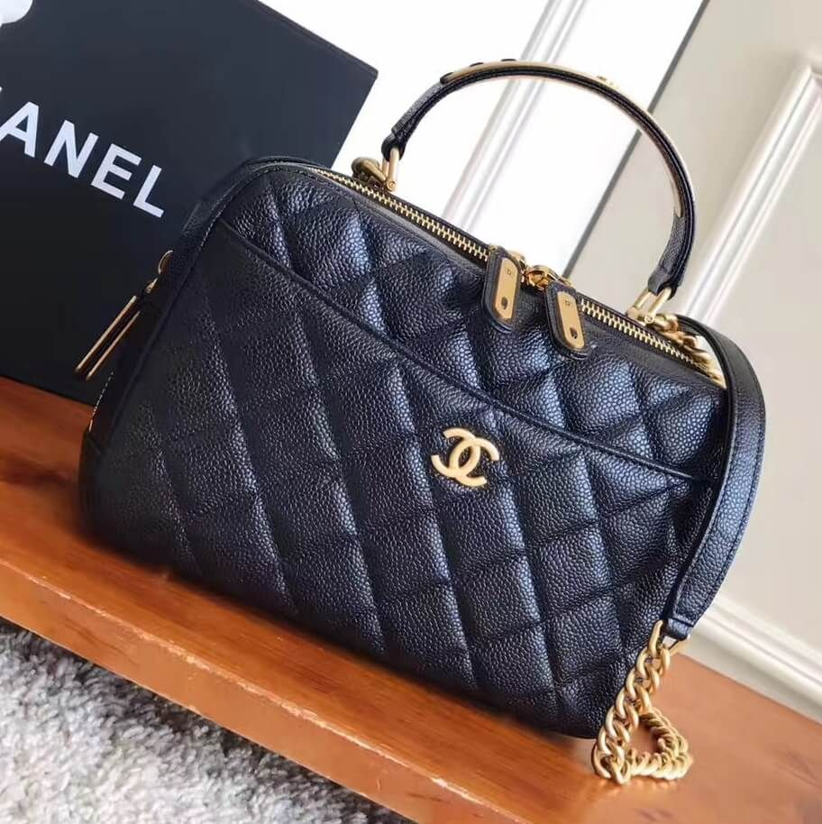 b6a1a1905a24 Chanel Grained Calfskin Medium Bowling Bag A91907 Black 2017 Designer Bags  For Less, Designer Purses