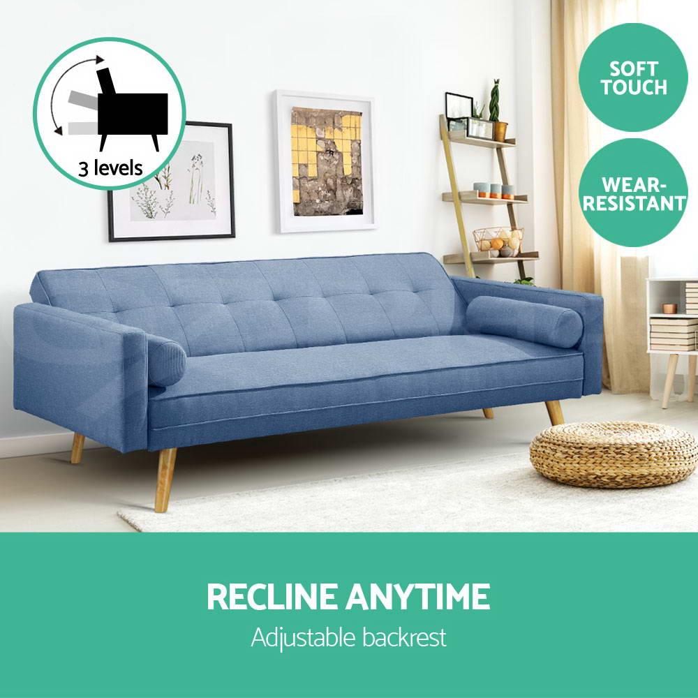 Artiss Sofa Bed Lounge Futon Couch 3 Seater Beds Fabric Recliner Wood Blue Grey Ebay Retro Sofa Sofa Bed Lounge Three Seater Sofa Bed
