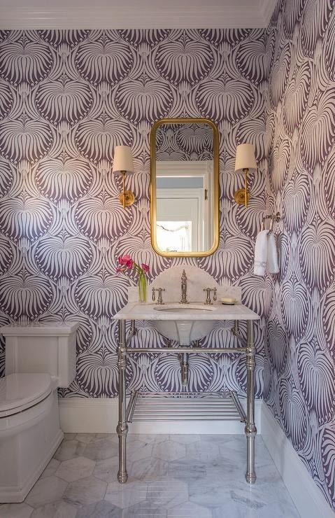 Purple Powder Room Boasts Walls Clad In Purple Farrow