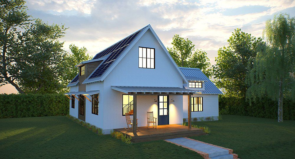 Solar farmhouse modern farm modern prefab homes - Cost of solar panels for 3 bedroom house ...