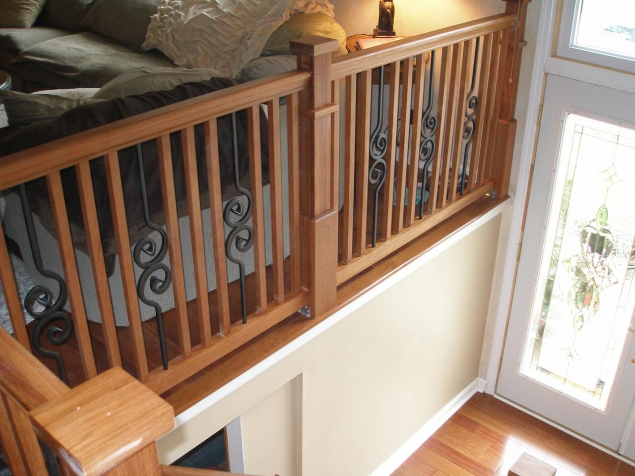 Wood Iron Railings : Rail with wood and wrought iron balusters … pinteres…